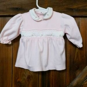 Petit Ami Pink & White Floral Smocked Dress